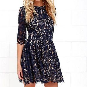 Lulus Love Letter Navy Blue Lace Dress